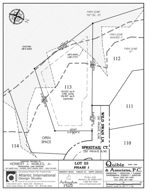 Arlington Place homesite 113 plat map.