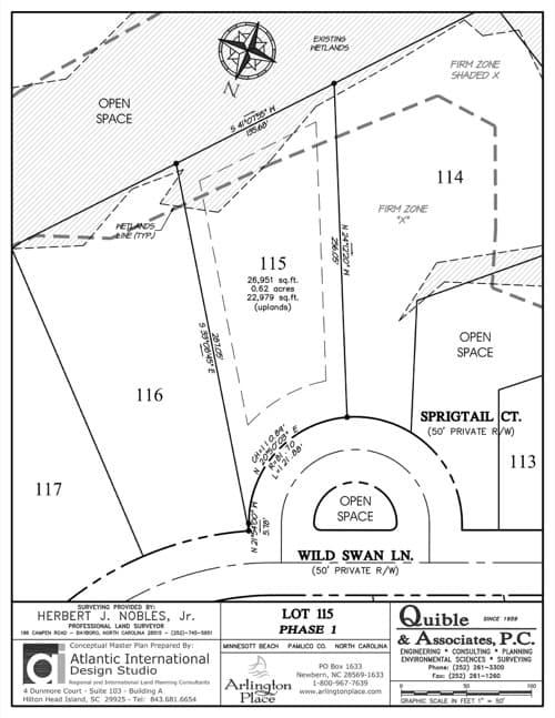 Arlington Place homesite 115 plat map.