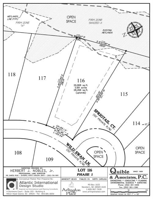 Arlington Place homesite 116 plat map.