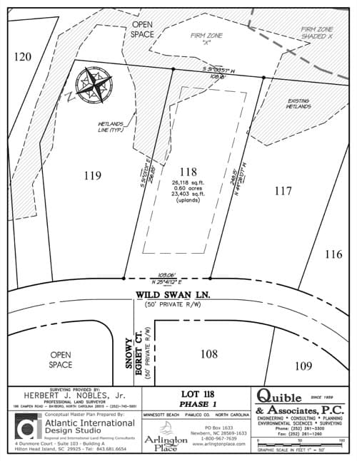 Arlington Place homesite 118 plat map.