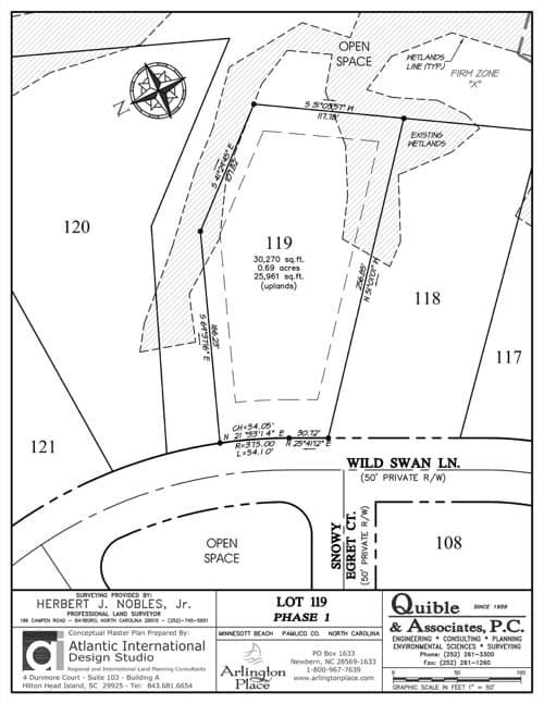 Arlington Place homesite 119 plat map.