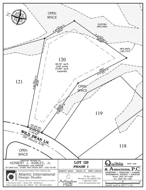 Arlington Place homesite 120 plat map.