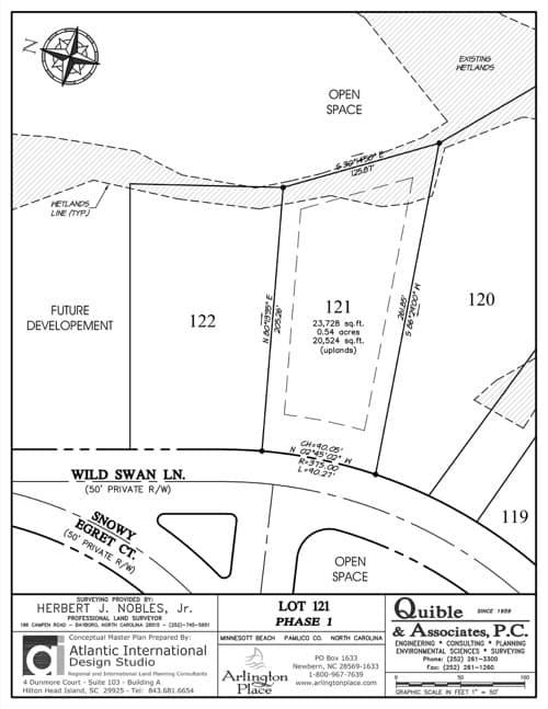 Arlington Place homesite 121 plat map.