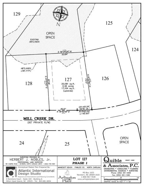 Arlington Place homesite 127 plat map.
