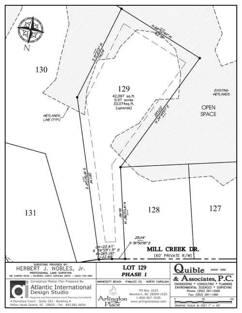 Arlington Place homesite 129 plat map.