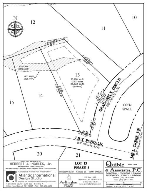 Arlington Place homesite 13 plat map.