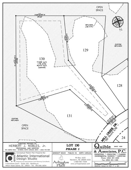 Arlington Place homesite 130 plat map.