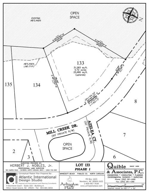 Arlington Place homesite 133 plat map.