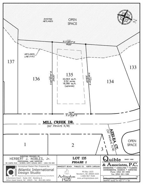 Arlington Place homesite 135 plat map.