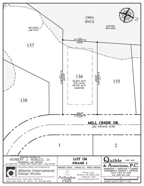 Arlington Place homesite 136 plat map.