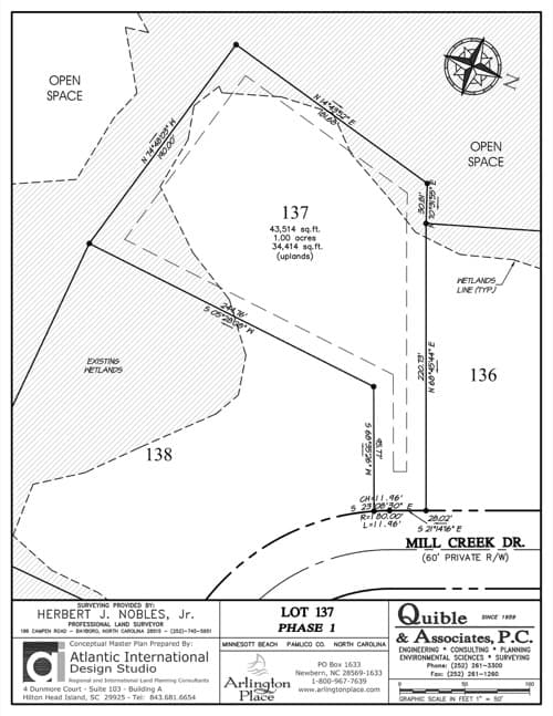 Arlington Place homesite 137 plat map.