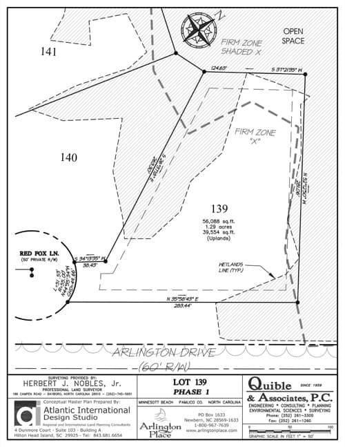 Arlington Place homesite 139 plat map.