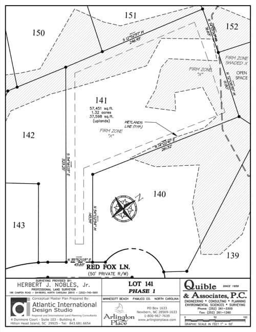 Arlington Place homesite 141 plat map.