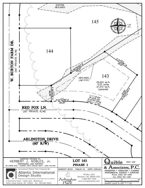 Arlington Place homesite 143 plat map.