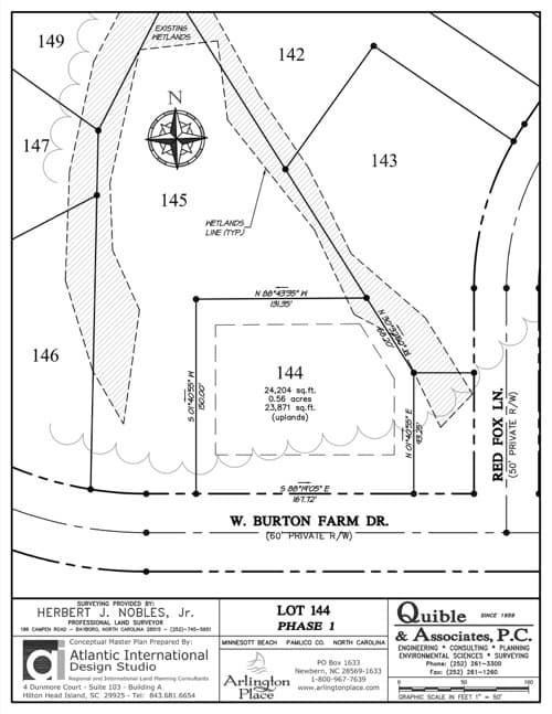 Arlington Place homesite 144 plat map.