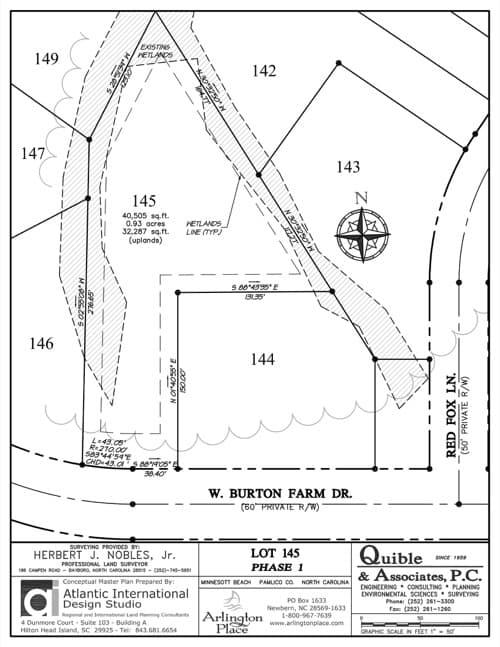 Arlington Place homesite 145 plat map.