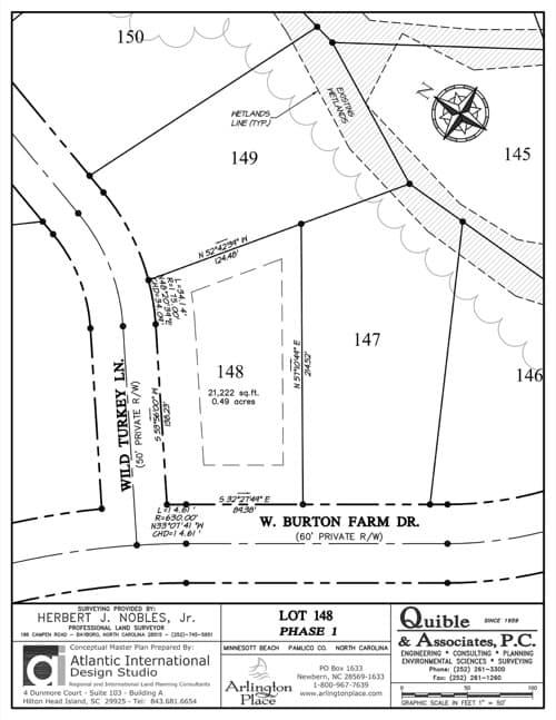 Arlington Place homesite 148 plat map.