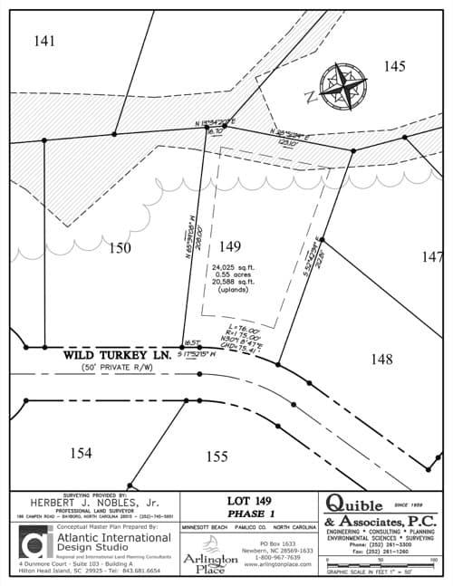 Arlington Place homesite 149 plat map.