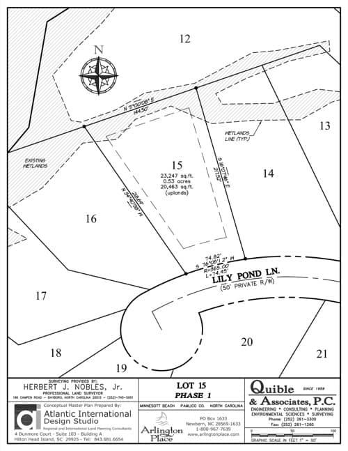 Arlington Place homesite 15 plat map.
