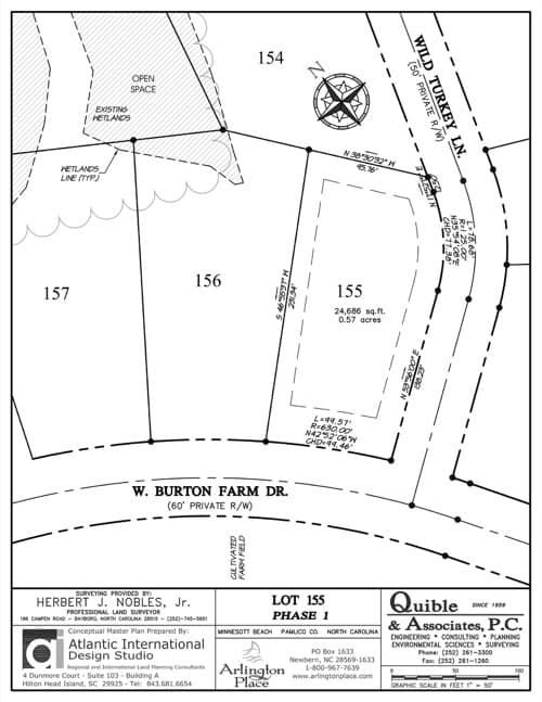 Arlington Place homesite 155 plat map.