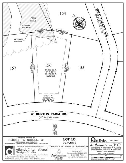 Arlington Place homesite 156 plat map.