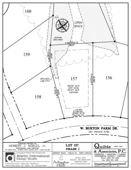 Arlington Place homesite 157 plat map.