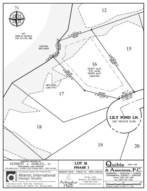 Arlington Place homesite 16 plat map.