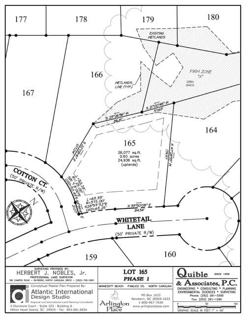 Arlington Place homesite 165 plat map.