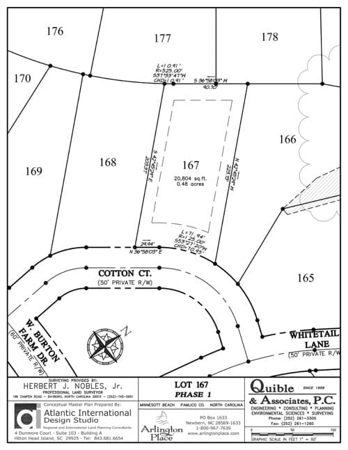 Arlington Place homesite 167 plat map.