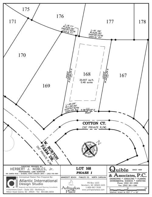 Arlington Place homesite 168 plat map.
