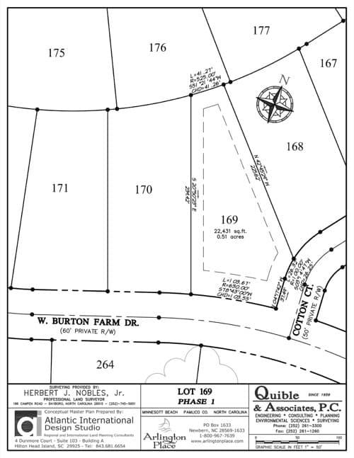 Arlington Place homesite 169 plat map.