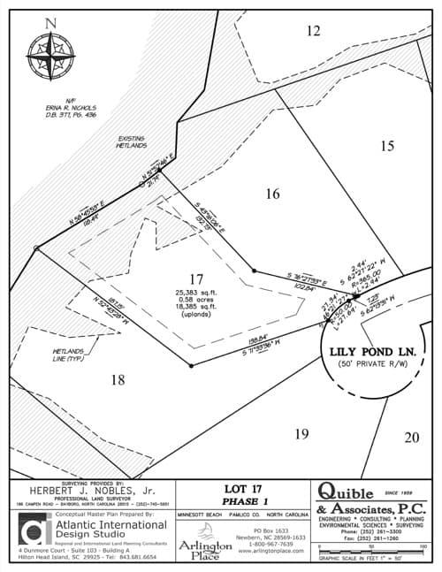 Arlington Place homesite 17 plat map.