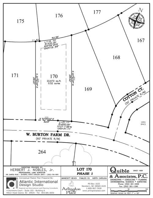 Arlington Place homesite 170 plat map.