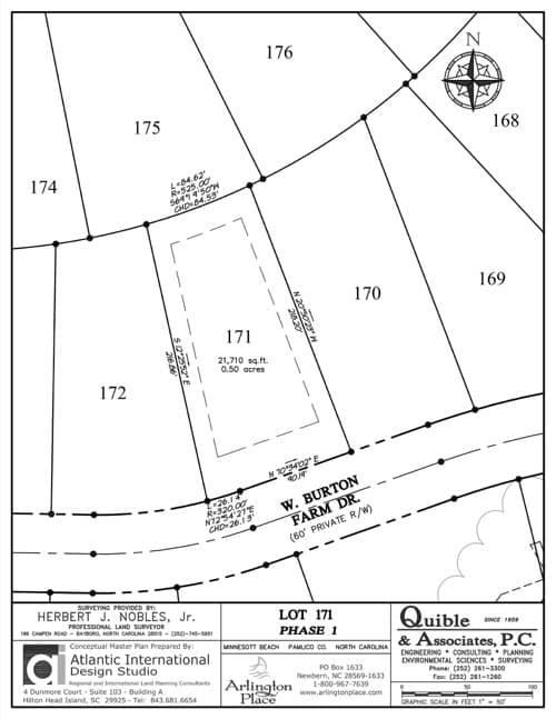 Arlington Place homesite 171 plat map.