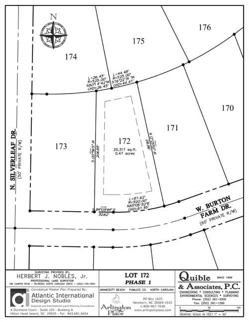 Arlington Place homesite 172 plat map.