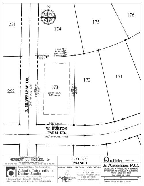 Arlington Place homesite 173 plat map.