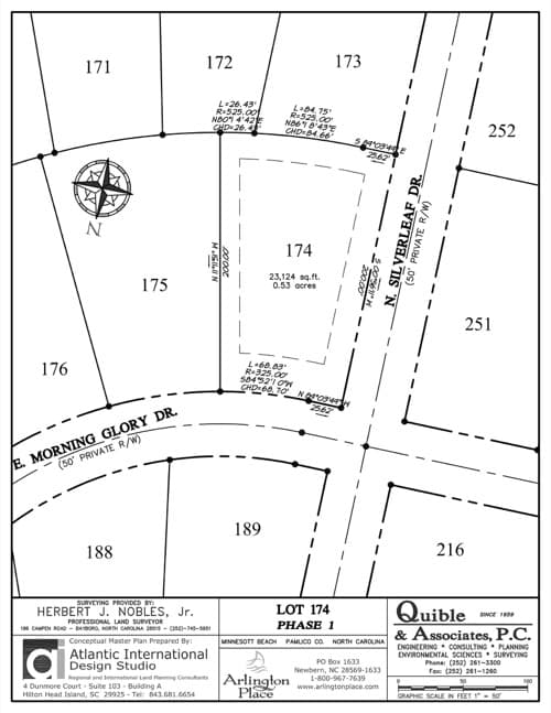 Arlington Place homesite 174 plat map.