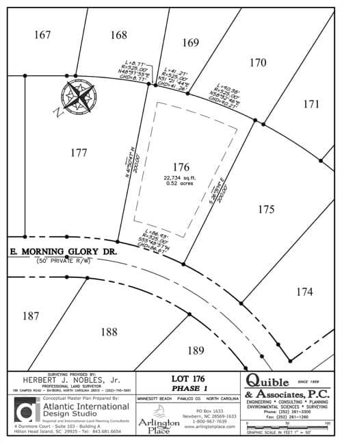 Arlington Place homesite 176 plat map.