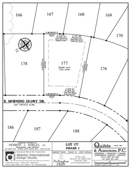 Arlington Place homesite 177 plat map.