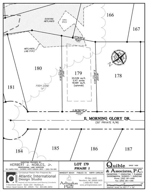 Arlington Place homesite 179 plat map.