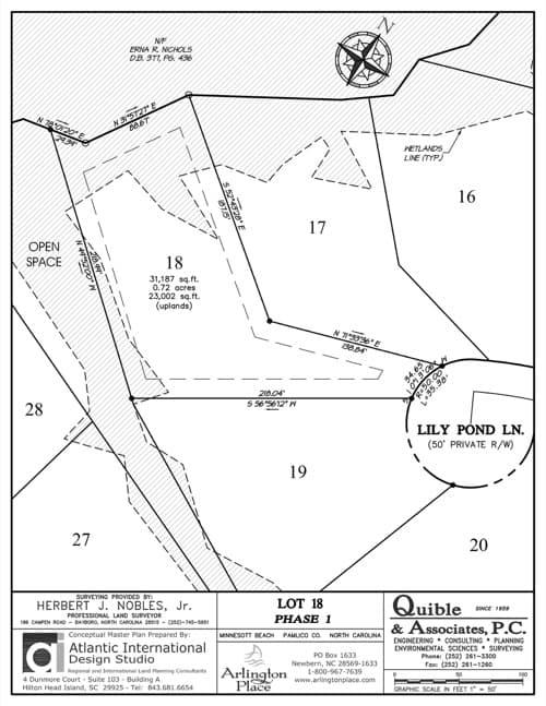 Arlington Place homesite 18 plat map.