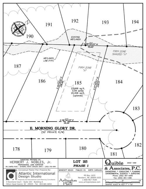 Arlington Place homesite 185 plat map.