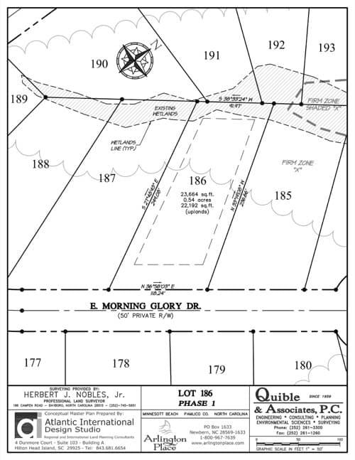 Arlington Place homesite 186 plat map.