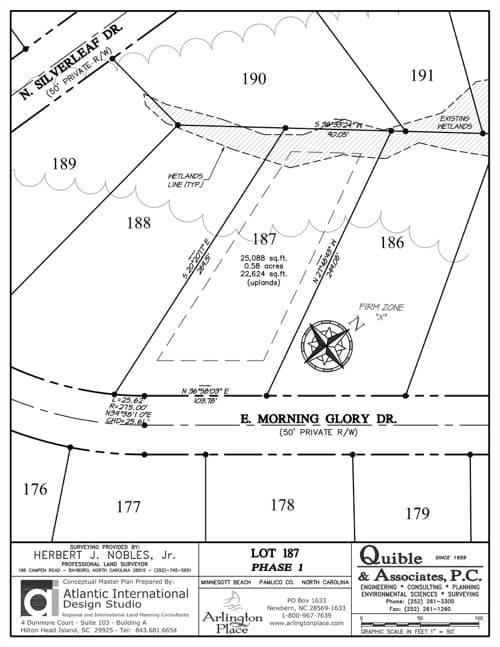 Arlington Place homesite 187 plat map.
