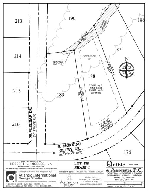 Arlington Place homesite 188 plat map.
