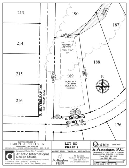 Arlington Place homesite 189 plat map.