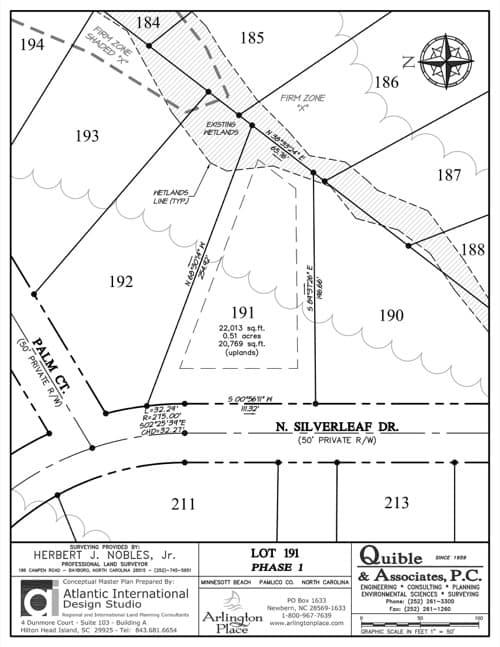 Arlington Place homesite 191 plat map.