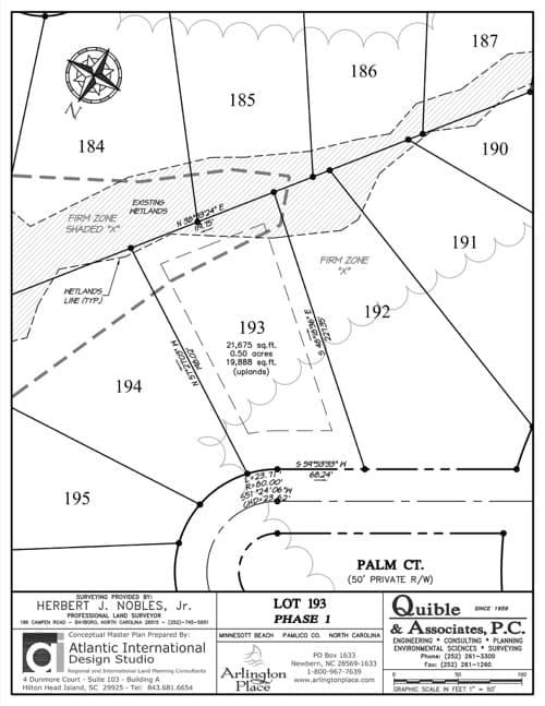 Arlington Place homesite 193 plat map.