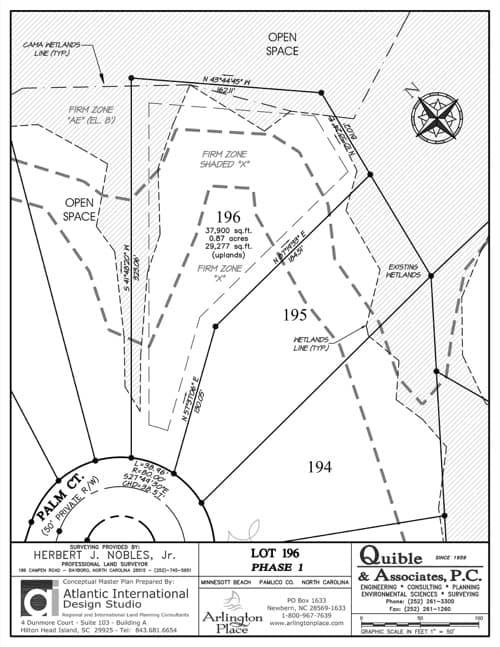 Arlington Place homesite 196 plat map.