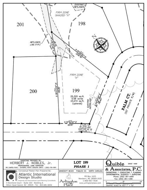 Arlington Place homesite 199 plat map.